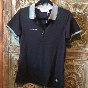 BMW black golf polo top Small
